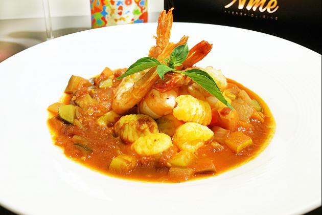 料理鼠王與老虎蝦(尼斯鮮蝦蕃茄燉蔬菜佐法式麵疙瘩) 1